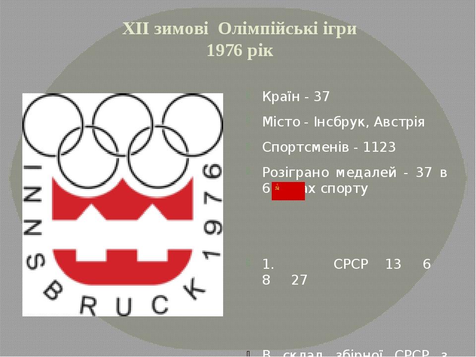 ХІІ зимові Олімпійські ігри 1976 рік Країн - 37 Місто - Інсбрук, Австрія Спор...