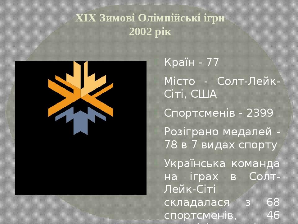XІХ Зимові Олімпійські ігри 2002 рік Країн - 77 Місто - Солт-Лейк-Сіті, США С...