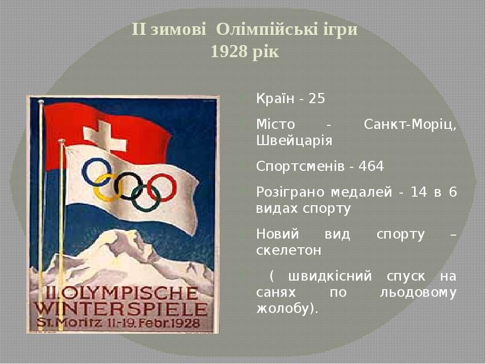 ІІ зимові Олімпійські ігри 1928 рік Країн - 25 Місто - Санкт-Моріц, Швейцарія...
