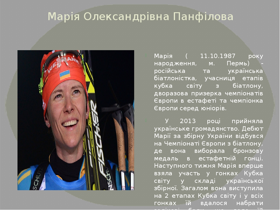 Марія Олександрівна Панфілова Марія ( 11.10.1987 року народження, м. Пермь) -...