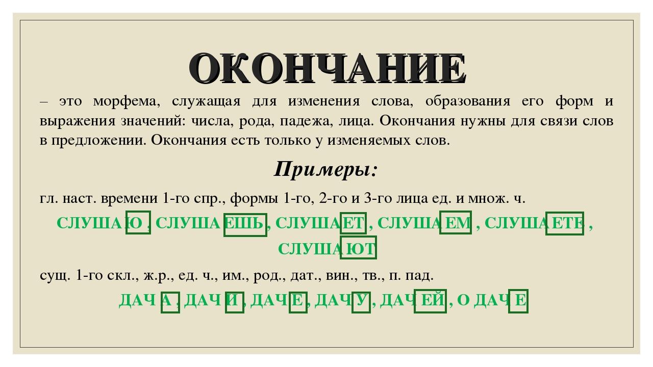 ОКОНЧАНИЕ – это морфема, служащая для изменения слова, образования его форм и...