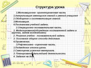 Структура урока 1.Мотивационно- ориентировочная часть 1.Актуализация имеющих