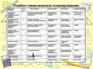 Учебно-тематическое планирование. Содержание материала Кол-во часов Метод обу