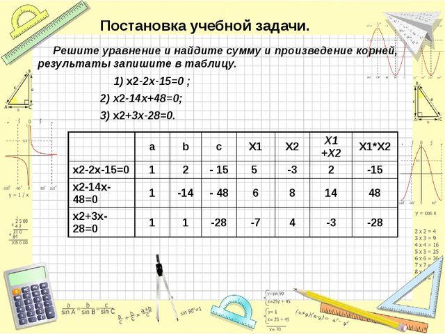 Постановка учебной задачи. Решите уравнение и найдите сумму и произведение ко...