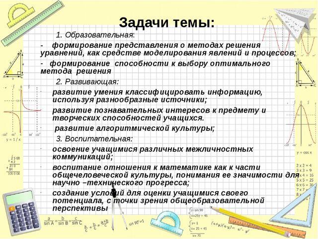 Задачи темы: 1. Образовательная: - формирование представления о методах решен...