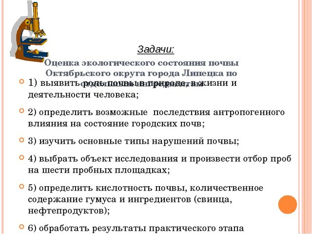 Оценка экологического состояния почвы Октябрьского округа города Липецка по о...