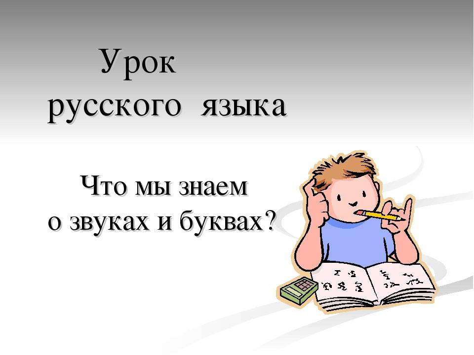Урок русского языка Что мы знаем о звуках и буквах?