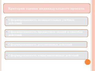 Критерии оценки индивидуального проекта: Сформированность познавательных уче