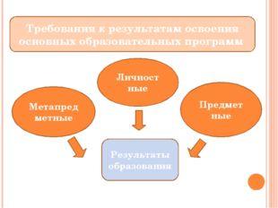 Требования к результатам освоения основных образовательных программ Личност