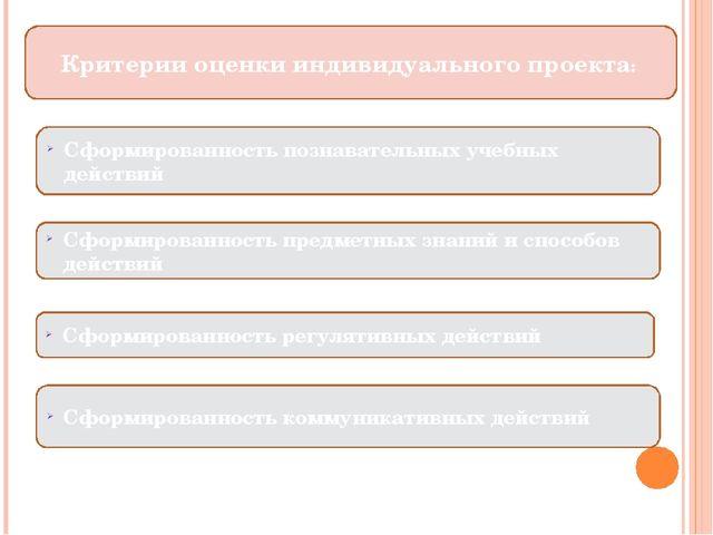 Критерии оценки индивидуального проекта: Сформированность познавательных уче...