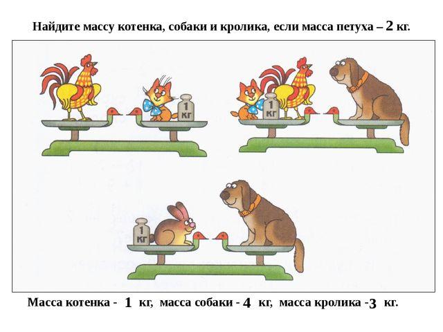 Найдите массу котенка, собаки и кролика, если масса петуха – 2 кг. Масса коте...