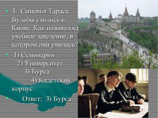 3. Сыновья Тараса Бульбы учились в Киеве. Как называлось учебное заведение, в