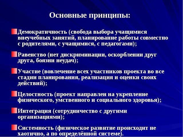 Основные принципы: Демократичность (свобода выбора учащимися внеучебных занят...