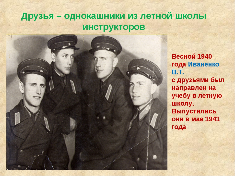 Друзья – однокашники из летной школы инструкторов Весной 1940 года Иваненко В...