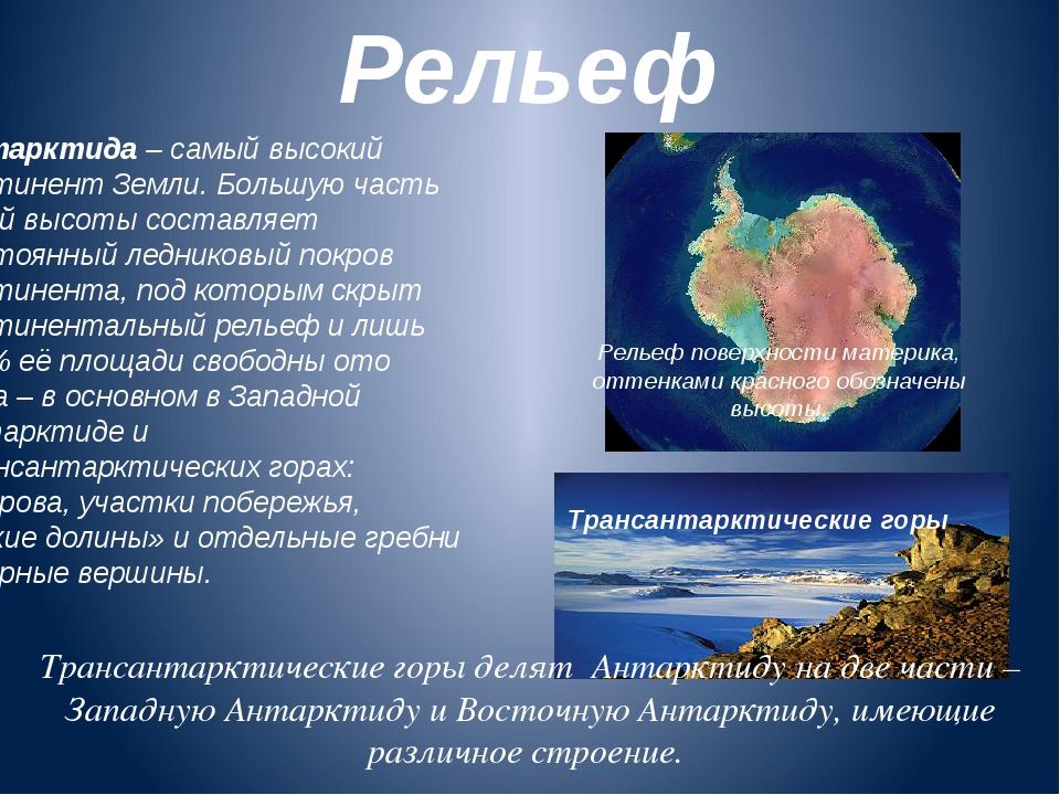 Рельеф Антарктида – самый высокий континент Земли. Большую часть этой высоты...