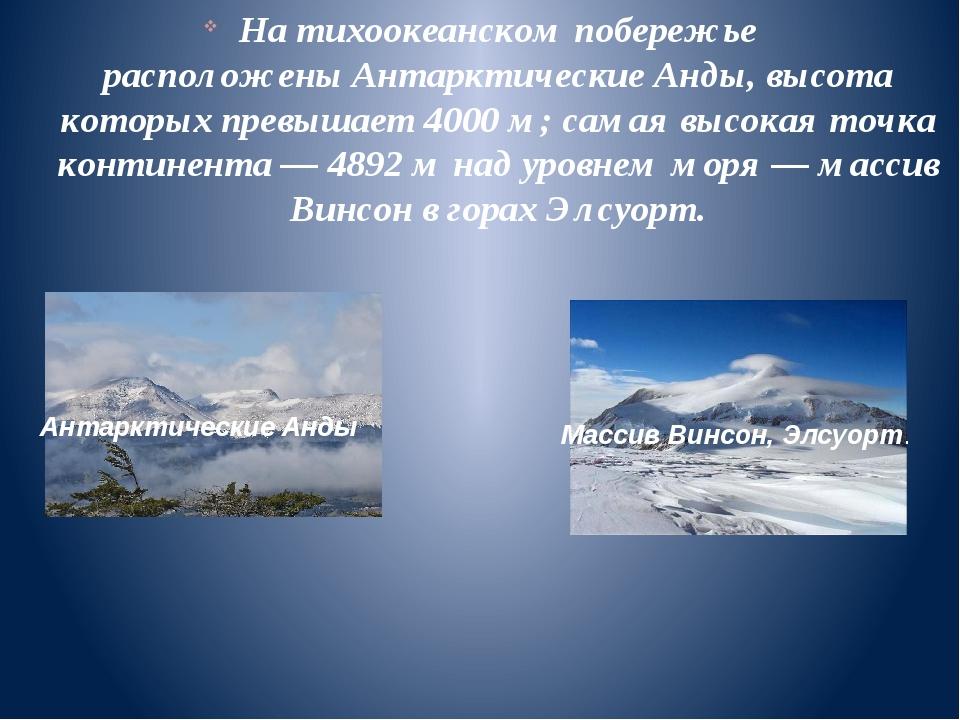 На тихоокеанском побережье расположеныАнтарктические Анды, высота которых пр...
