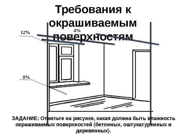 Требования к окрашиваемым поверхностям 12% 8% 4% ЗАДАНИЕ: Отметьте на рисунке...