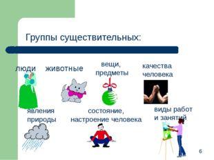 Группы существительных: 6 люди животные вещи, предметы качества человека явле