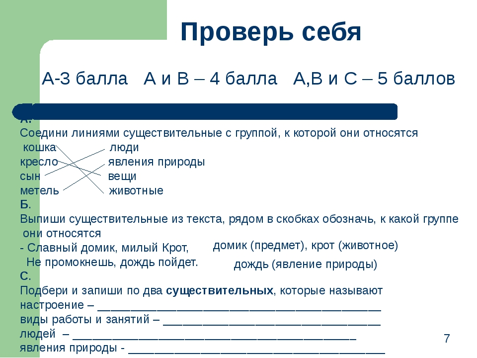 7 Проверь себя А. Соедини линиями существительные с группой, к которой они от...
