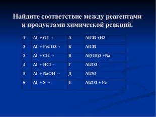 Найдите соответствие между реагентами и продуктами химической реакций. 1Al