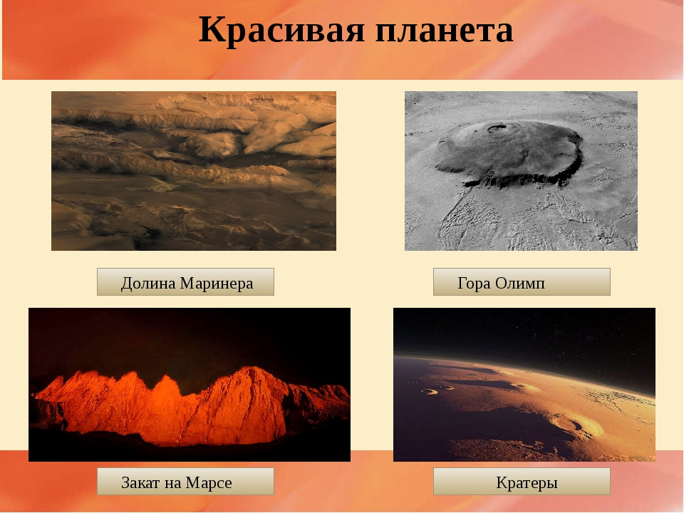 Красивая планета Долина Маринера Гора Олимп Кратеры Закат на Марсе