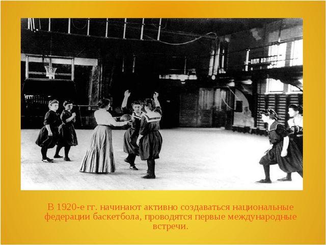 В 1920-е гг. начинают активно создаваться национальные федерации баскетбола,...