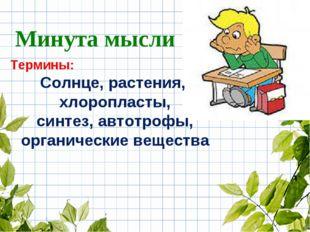 Термины: Солнце, растения, хлоропласты, синтез, автотрофы, органические вещес