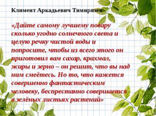 Климент Аркадьевич Тимирязев «Дайте самому лучшему повару сколько угодно солн