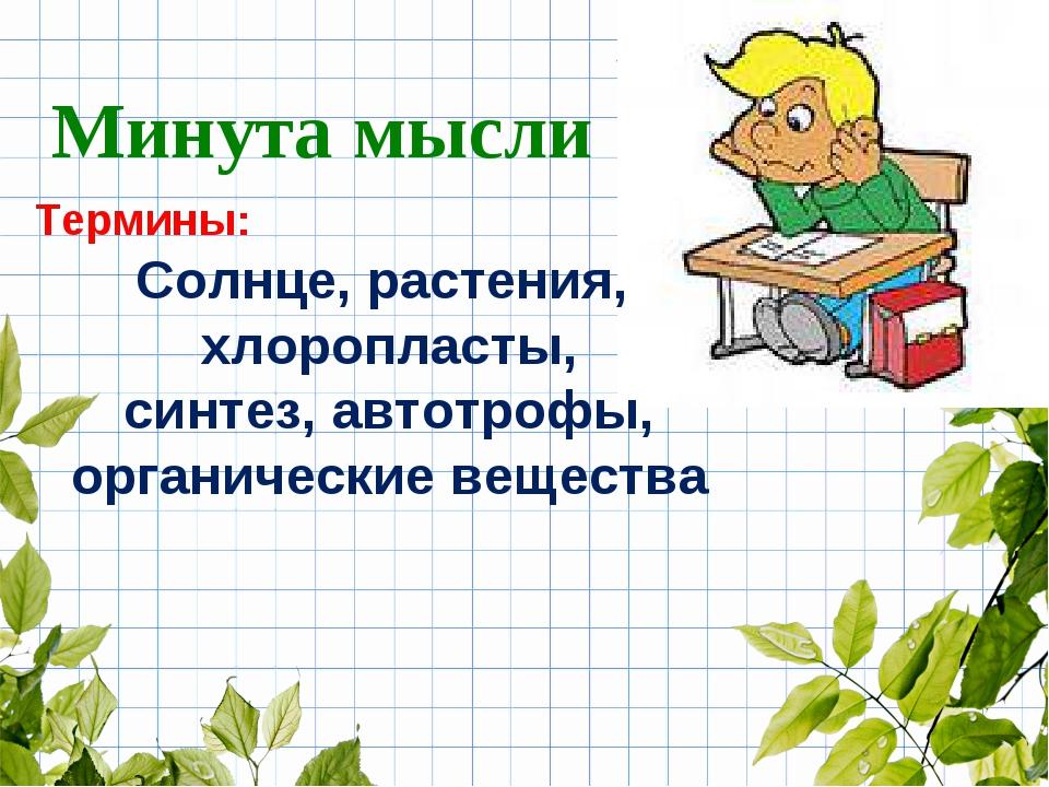 Термины: Солнце, растения, хлоропласты, синтез, автотрофы, органические вещес...