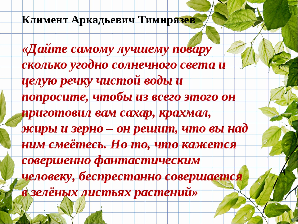 Климент Аркадьевич Тимирязев «Дайте самому лучшему повару сколько угодно солн...