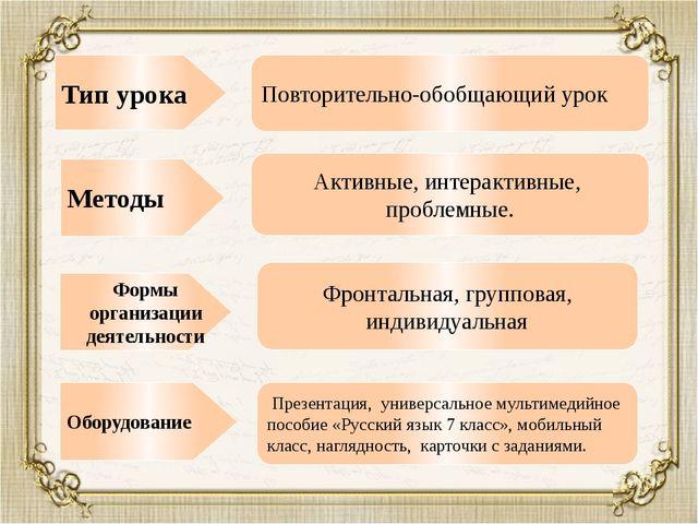 Методы Тип урока Формы организации деятельности Оборудование Повторительно-об...