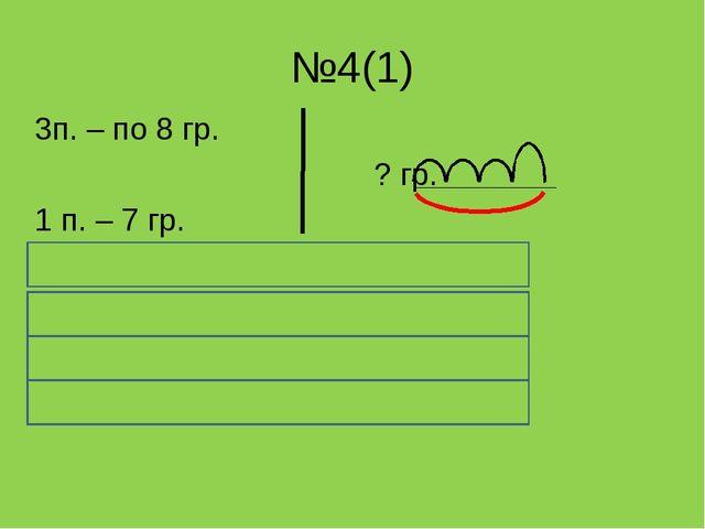 №4(1) 3п. – по 8 гр. ? гр. 1 п. – 7 гр. 8 * 3 + 7 = 8 * 3 = 24 ( гр.) в трёх...