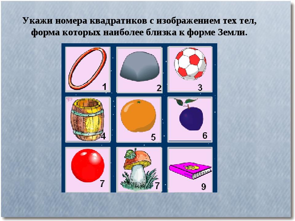 Укажи номера квадратиков с изображением тех тел, форма которых наиболее близк...