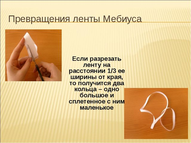 Превращения ленты Мебиуса Если разрезать ленту на расстоянии 1/3 ее ширины от...