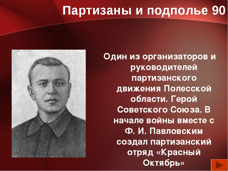 Партизаны и подполье 90 Один из организаторов и руководителей партизанского д...