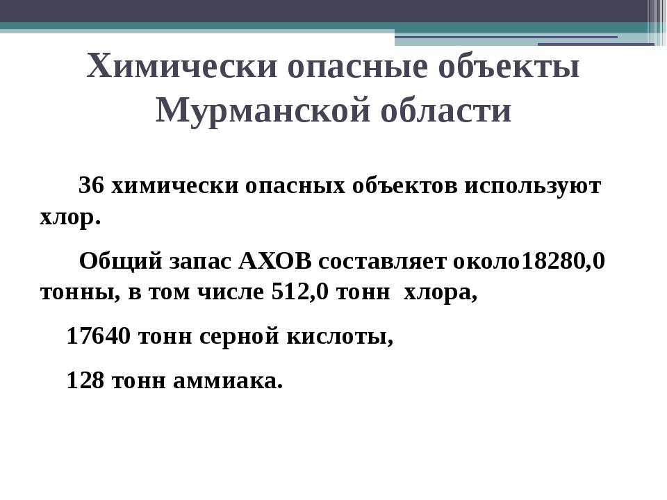 Химически опасные объекты Мурманской области 36 химически опасных объектов ис...