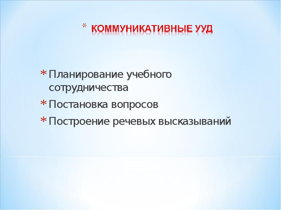Планирование учебного сотрудничества Постановка вопросов Построение речевых в...