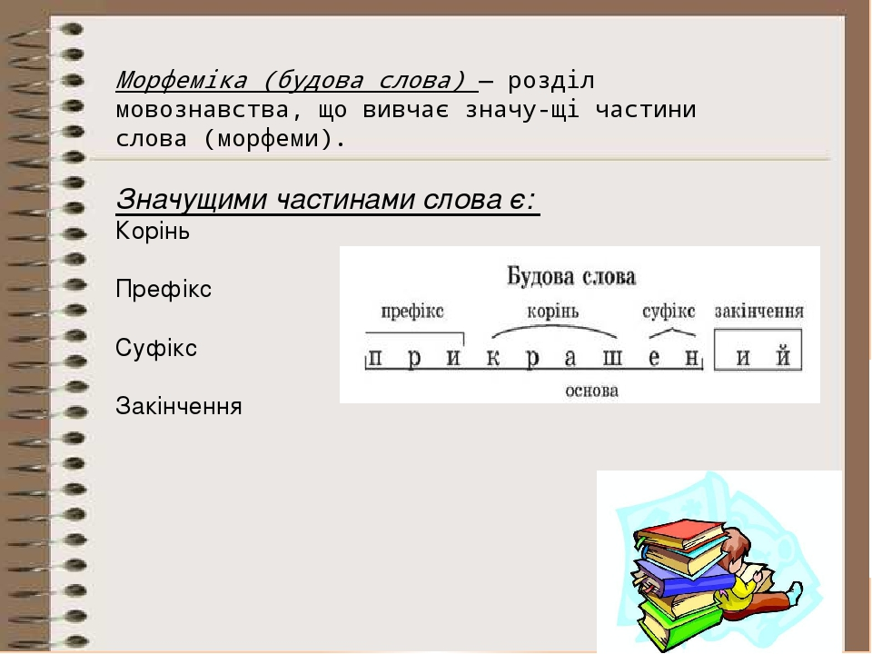 Морфеміка (будова слова) — розділ мовознавства, що вивчає значущі частини сл...