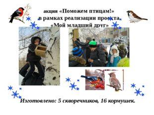 акция «Поможем птицам!» в рамках реализации проекта «Мой младший друг» Изгото