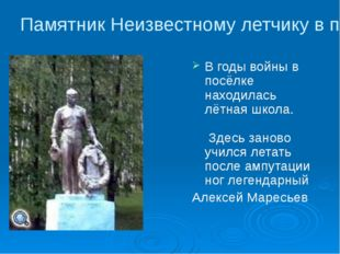 Памятник Неизвестному летчику в посёлке Ибреси В годы войны в посёлке находил
