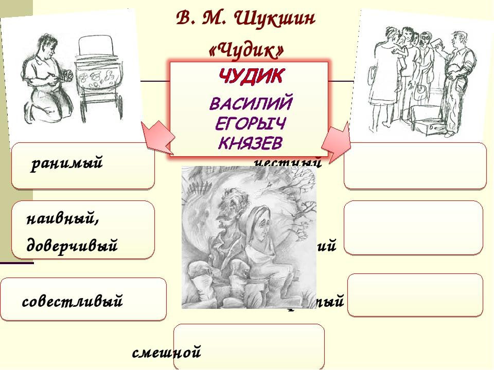 В. М. Шукшин «Чудик» ранимый честный наивный, добрый, доверчивый искренний со...