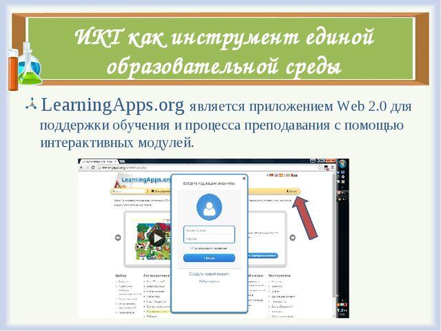 ИКТ как инструмент единой образовательной среды LearningApps.org является при...