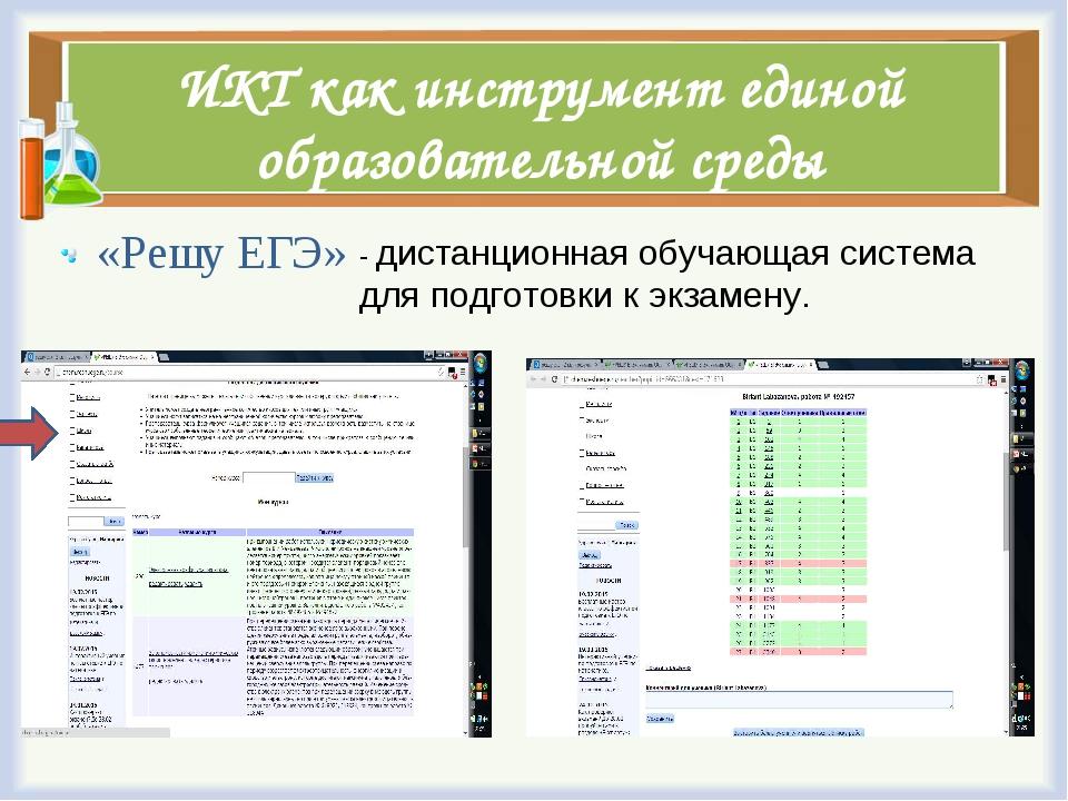 ИКТ как инструмент единой образовательной среды «Решу ЕГЭ» - дистанционная об...