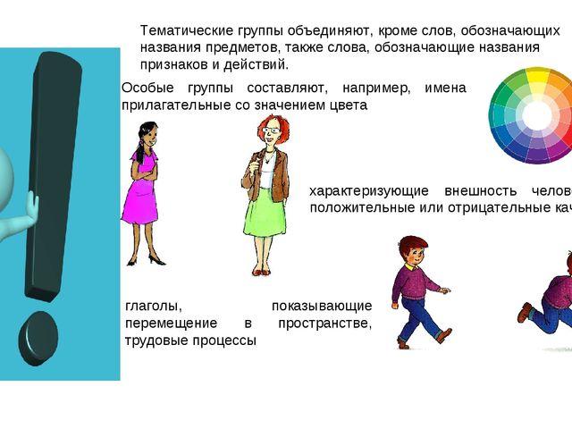 Тематические группы объединяют, кроме слов, обозначающих названия предметов,...