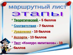 Теоретический – 5 баллов Соответствия - 7 баллов Уравнения - 10 баллов Ассорт