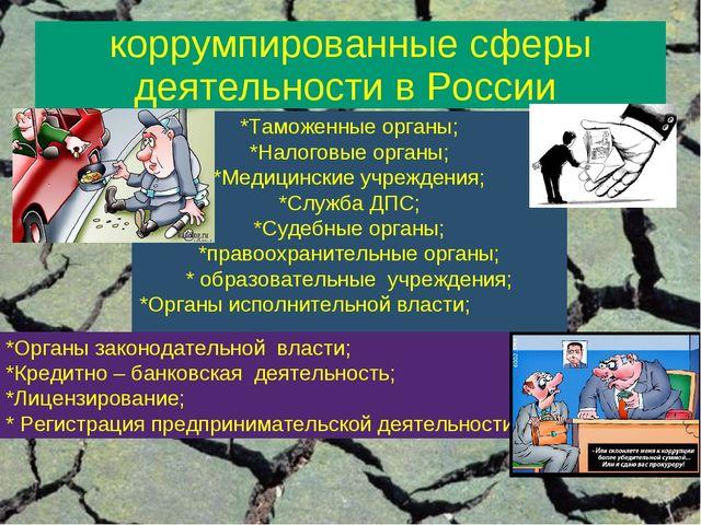 коррумпированные сферы деятельности в России *Таможенные органы; *Налоговые о...