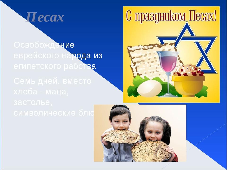 Песах Освобождение еврейского народа из египетского рабства Семь дней, вместо...