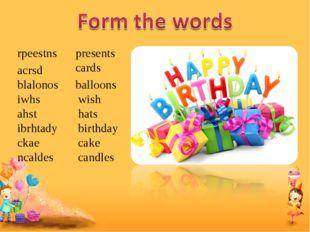 rpeestns presents acrsd cards blalonos balloons iwhs wish ahst hats ibrhtady