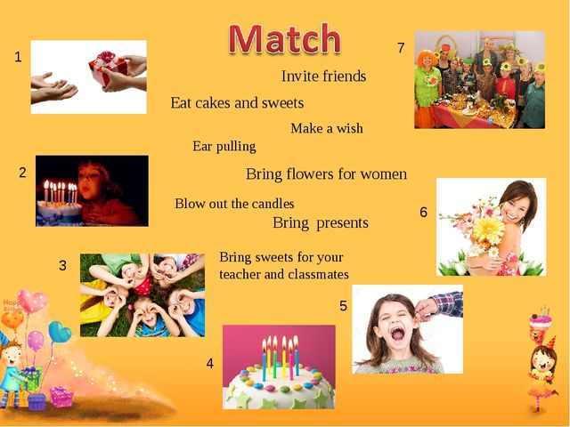 Bring presents Invite friends Eat cakes and sweets Make a wish Blow out the c...