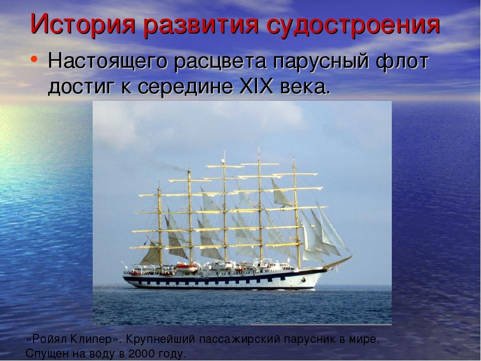 История развития судостроения Настоящего расцвета парусный флот достиг к сере...